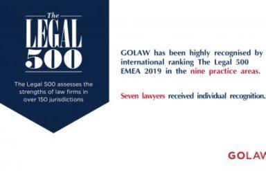 GOLAW получила высокое отличие международного рейтинга The Legal 500 EMEA 2019 в девяти ключевых практиках